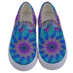 Fractal Curve Decor Twist Twirl Kids  Canvas Slip Ons
