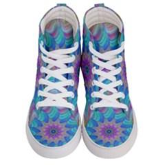 Fractal Curve Decor Twist Twirl Women s Hi Top Skate Sneakers