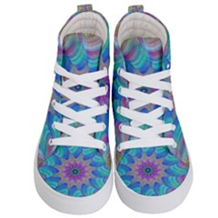 Fractal Curve Decor Twist Twirl Kid s Hi Top Skate Sneakers
