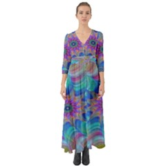 Fractal Curve Decor Twist Twirl Button Up Boho Maxi Dress