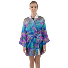 Fractal Curve Decor Twist Twirl Long Sleeve Kimono Robe