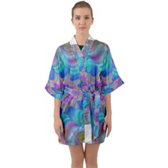 Fractal Curve Decor Twist Twirl Quarter Sleeve Kimono Robe