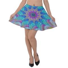 Fractal Curve Decor Twist Twirl Velvet Skater Skirt