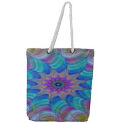 Fractal Curve Decor Twist Twirl Full Print Rope Handle Tote (large)