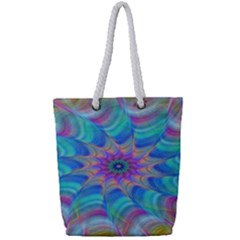 Fractal Curve Decor Twist Twirl Full Print Rope Handle Tote (small)
