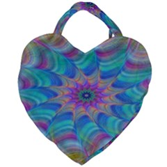 Fractal Curve Decor Twist Twirl Giant Heart Shaped Tote