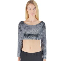 Abstract Art Decoration Design Long Sleeve Crop Top