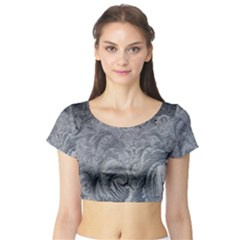 Abstract Art Decoration Design Short Sleeve Crop Top