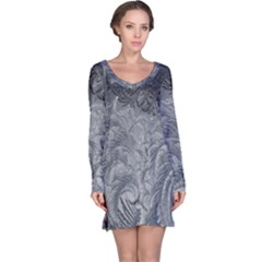 Abstract Art Decoration Design Long Sleeve Nightdress