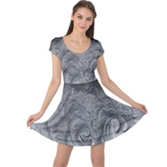 Abstract Art Decoration Design Cap Sleeve Dress