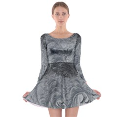 Abstract Art Decoration Design Long Sleeve Skater Dress