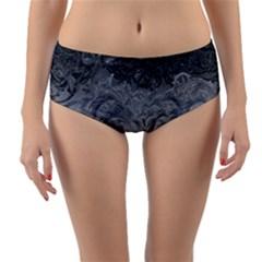 Abstract Art Decoration Design Reversible Mid Waist Bikini Bottoms