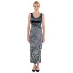 Abstract Art Decoration Design Fitted Maxi Dress