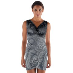 Abstract Art Decoration Design Wrap Front Bodycon Dress