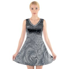 Abstract Art Decoration Design V Neck Sleeveless Skater Dress