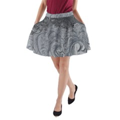 Abstract Art Decoration Design A Line Pocket Skirt