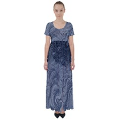 Abstract Art Decoration Design High Waist Short Sleeve Maxi Dress