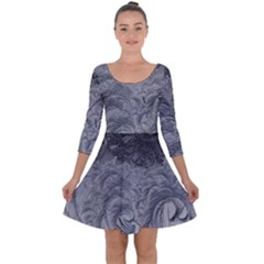 Abstract Art Decoration Design Quarter Sleeve Skater Dress