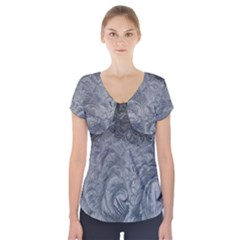 Abstract Art Decoration Design Short Sleeve Front Detail Top