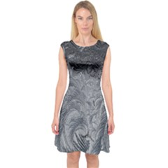 Abstract Art Decoration Design Capsleeve Midi Dress