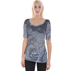 Abstract Art Decoration Design Wide Neckline Tee
