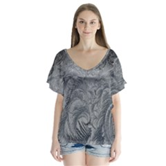 Abstract Art Decoration Design V Neck Flutter Sleeve Top