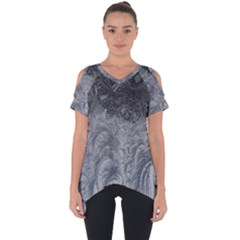 Abstract Art Decoration Design Cut Out Side Drop Tee