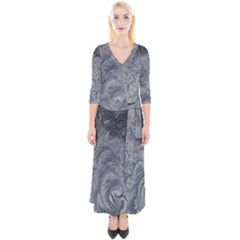 Abstract Art Decoration Design Quarter Sleeve Wrap Maxi Dress