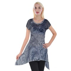 Abstract Art Decoration Design Short Sleeve Side Drop Tunic