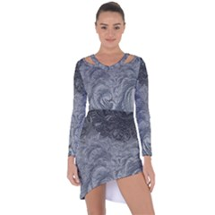 Abstract Art Decoration Design Asymmetric Cut Out Shift Dress