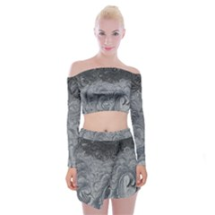Abstract Art Decoration Design Off Shoulder Top With Mini Skirt Set