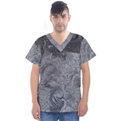 Abstract Art Decoration Design Men s V Neck Scrub Top