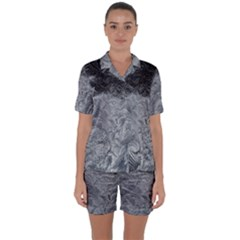 Abstract Art Decoration Design Satin Short Sleeve Pyjamas Set
