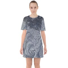 Abstract Art Decoration Design Sixties Short Sleeve Mini Dress