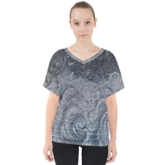 Abstract Art Decoration Design V Neck Dolman Drape Top
