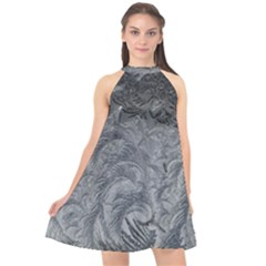 Abstract Art Decoration Design Halter Neckline Chiffon Dress