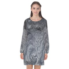 Abstract Art Decoration Design Long Sleeve Chiffon Shift Dress