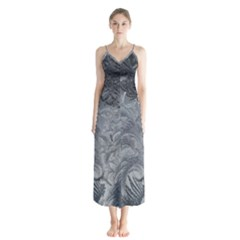 Abstract Art Decoration Design Button Up Chiffon Maxi Dress