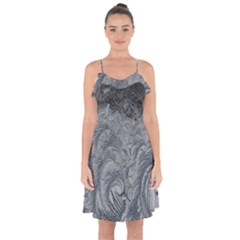 Abstract Art Decoration Design Ruffle Detail Chiffon Dress