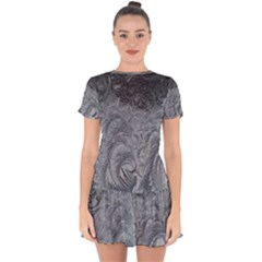 Abstract Art Decoration Design Drop Hem Mini Chiffon Dress