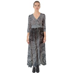 Abstract Art Decoration Design Button Up Boho Maxi Dress