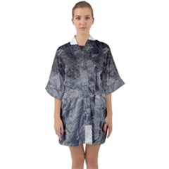 Abstract Art Decoration Design Quarter Sleeve Kimono Robe