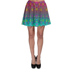 Years Of Peace Living In A Paradise Of Calm And Colors Skater Skirt
