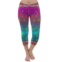 Years Of Peace Living In A Paradise Of Calm And Colors Capri Winter Leggings