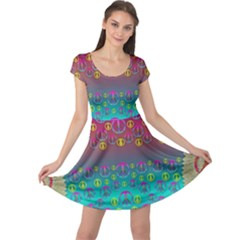 Years Of Peace Living In A Paradise Of Calm And Colors Cap Sleeve Dress