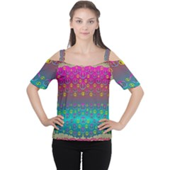 Years Of Peace Living In A Paradise Of Calm And Colors Cutout Shoulder Tee