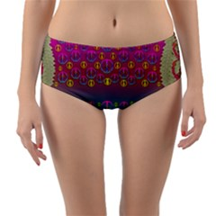 Years Of Peace Living In A Paradise Of Calm And Colors Reversible Mid Waist Bikini Bottoms