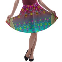 Years Of Peace Living In A Paradise Of Calm And Colors A Line Skater Skirt