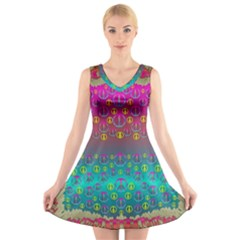 Years Of Peace Living In A Paradise Of Calm And Colors V Neck Sleeveless Skater Dress
