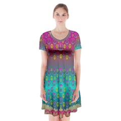 Years Of Peace Living In A Paradise Of Calm And Colors Short Sleeve V Neck Flare Dress